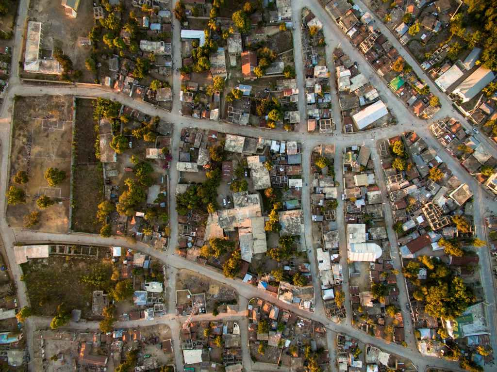 Aerial photo of a neighborhood in Haiti